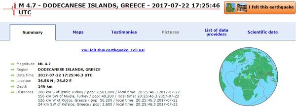 землетрясение в Греции 22 июля 2017 года